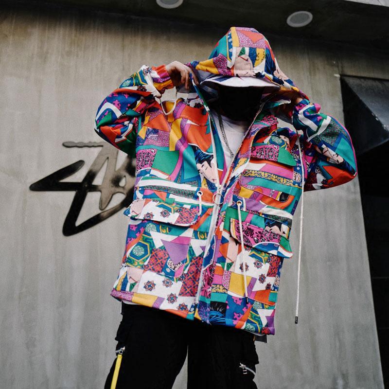 Japanese Ukiyo E Style Color Block Patchwork Jacket 1