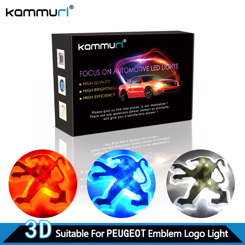KAMMURI Car 3d led emblem Badge Logo Light for Peugeot 206 207 307 308 407 508 406 301 2008 3008 2017 Emblem Badge Logo Light