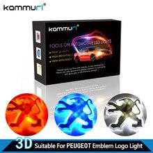 KAMMURI Carro 3d levou Logotipo do emblema Do Emblema Luz para Peugeot 206 207 307 308 407 508 406 301 2008 3008 2017 Do Emblema Do Emblema Do Logotipo luz