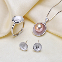 S925 Sterling Silver Pearl Pendant Ring Earrings Set Mounts Findings Beautiful Jewelry Set Parts Fittings Women's Accessories