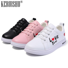 KERUISHU Childrens Genuine Leather White Casual Shoes Teenage Fashion Sneakers For Kids Boys Girls Unisex Wild Flat 31-37