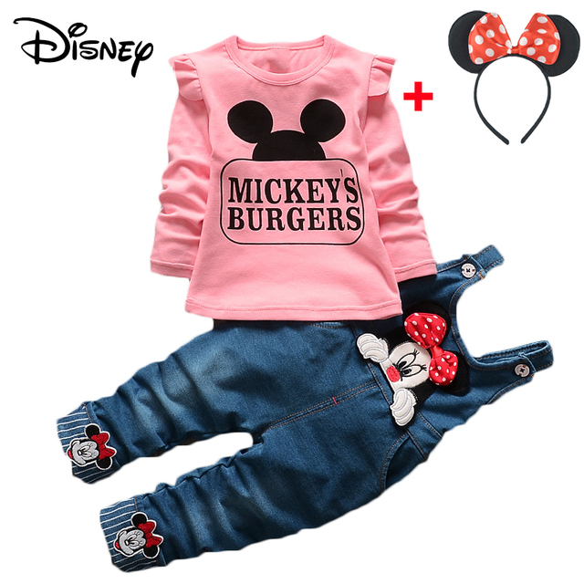 b1df20da5876e US $6.88 47% OFF|Disney Mickey Minnie New Baby Boys Clothes Fashion Denim  Bib pants Long Sleeved Tops Outfits Kids Bebes Jogging Suits Tracksuit-in  ...