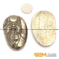 Pyrite Pendant 33x55mm Chinese God Carved Gray Pyrite Beads Natural Pyrite Stone Beads For Pendant Making
