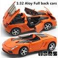 Mejor calidad 1:32 aleación modelo Superdeportivo, Tire Hacia Atrás coche de Juguete, Azul Funde coches, envío libre
