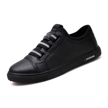 MIUBU 2020 Mens Elastic Band Shoes All-Match Leather Breathable Casual Leisure Spring Autumn Lightweight For Males