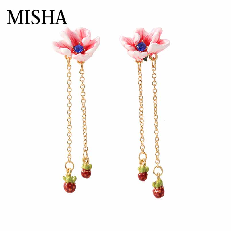 MISHA Top Sale Simulation gems Stud Earrings For Enamel glaze Flower shaped tassel earrings Retro Fine Jewelry Party Gift 721