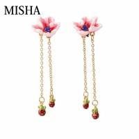 MISHA Top Sale Simulation gems Stud Earrings For Enamel glaze Flower shaped tassel earrings Retro Fine Jewelry Party Gift 721