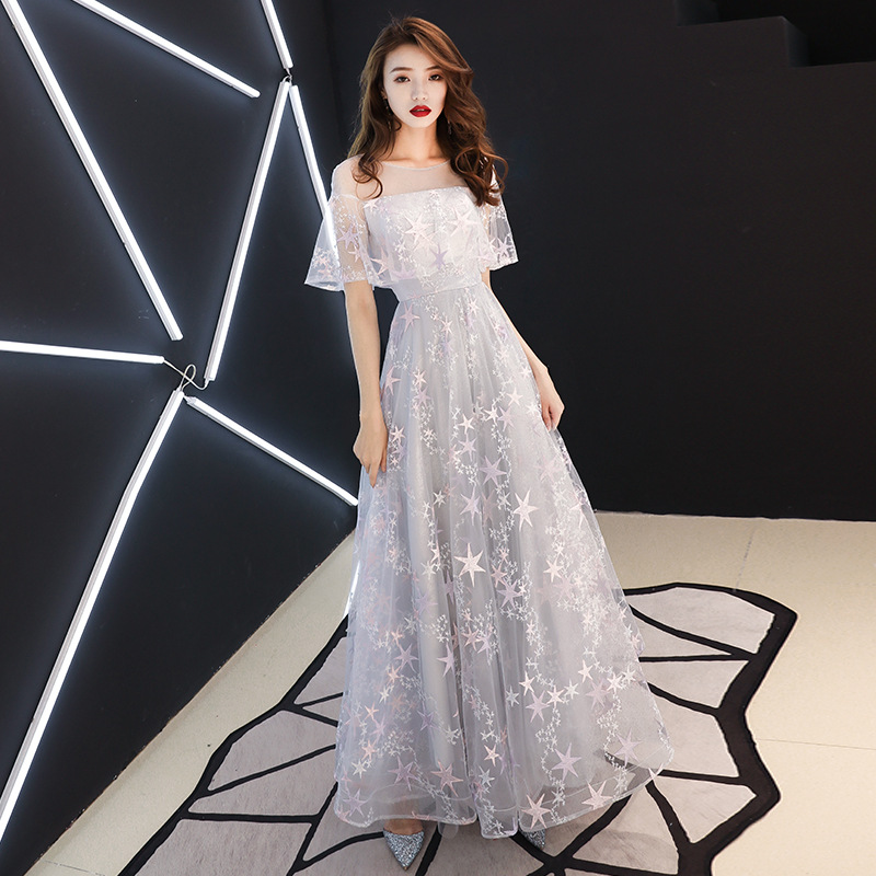 Beauté Emily robes de bal gris o-cou a-ligne longueur de plancher broderie Simple personnalisé grande taille robes de bal 2019 Graduation