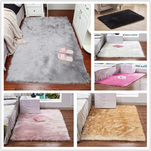 2019 Hot Sale Faux Sheepskin Chair Cover 15 Colors Warm Hairy Wool Carpet Seat Pad Long Skin Fur Plain Fluffy Area Rugs Washable