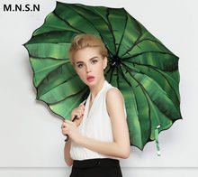 Umbrella Rain Women Anti-UV protection Quality 3-folding Green Leaves Sunscreen Windproof Small Fresh Style Parasol Men 50RR015(China)