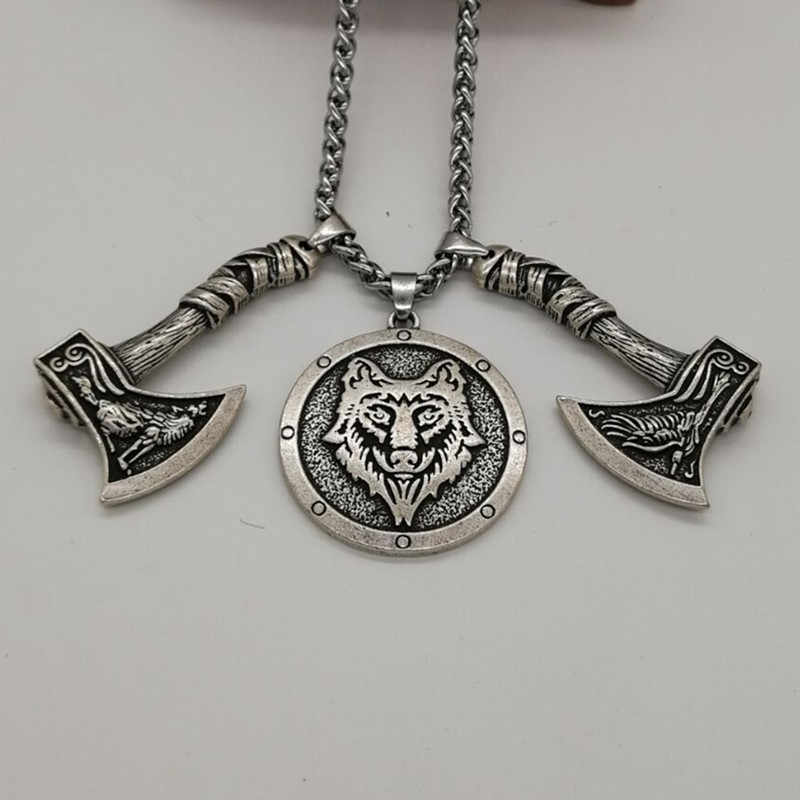Wolf Raven Axe Pendant with Wolf Head pendant necklace Men Pagan Viking  Jewelry Drop Shipping