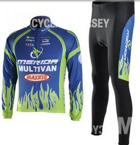 2009 Multivan Merida cycling Team wear clothes tights bicycle MTB Road bike riding cycle long sleeve jersey Z123 sets kits