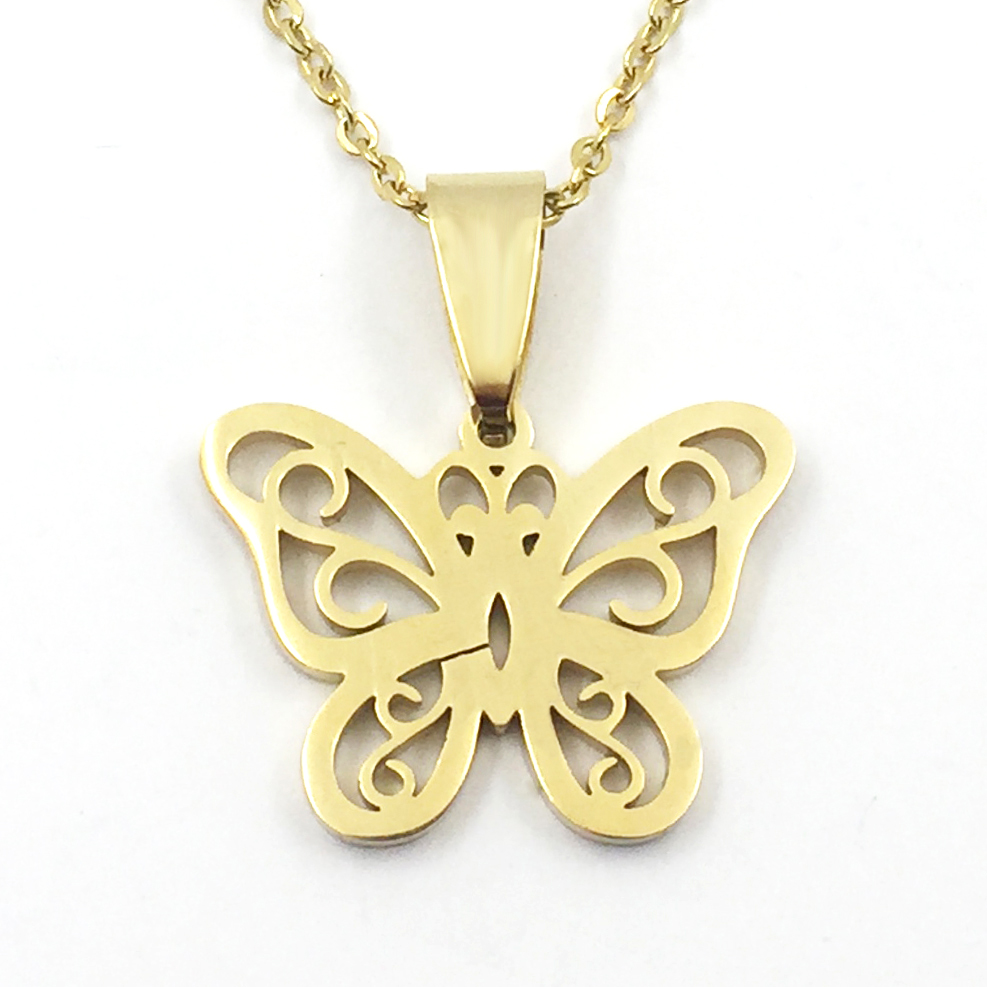 Fashion Womens Jewelry Beautiful Simple Butterfly Pendant Necklace for Women Stainless Steel Gold-color Chokers Party Gifts