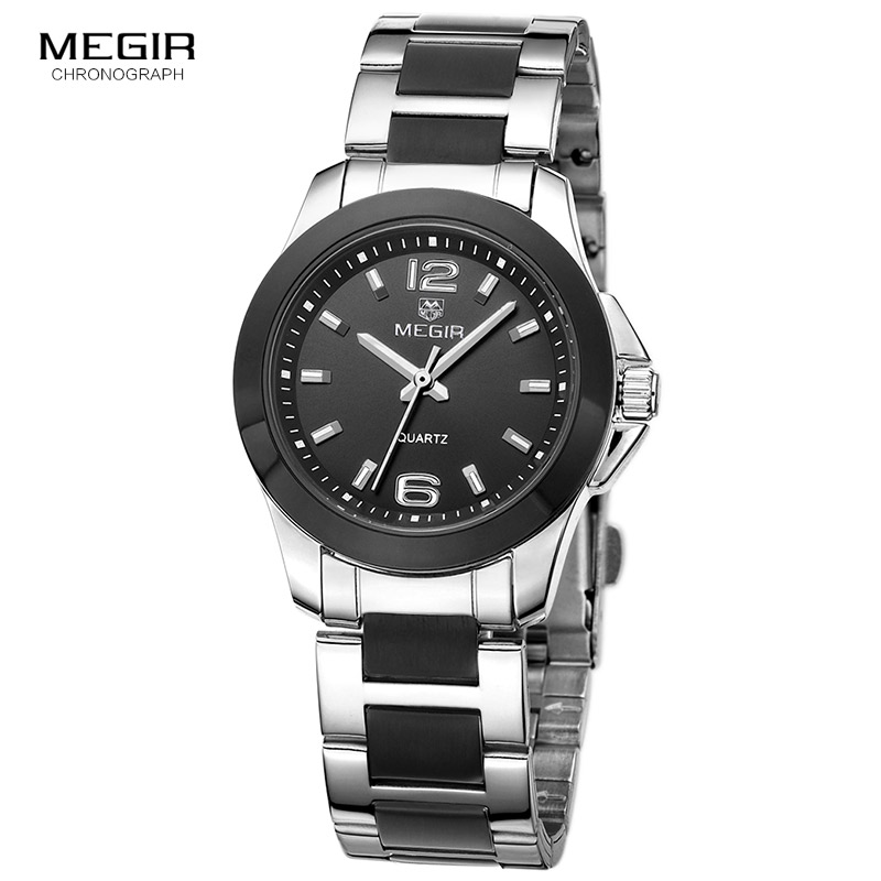 MEGIR Steel Simple Analogue Waterproof Wrist Watches For Women Ladies Black Silver Milimalilsm Clock Relojios Woman 5006LBK-1