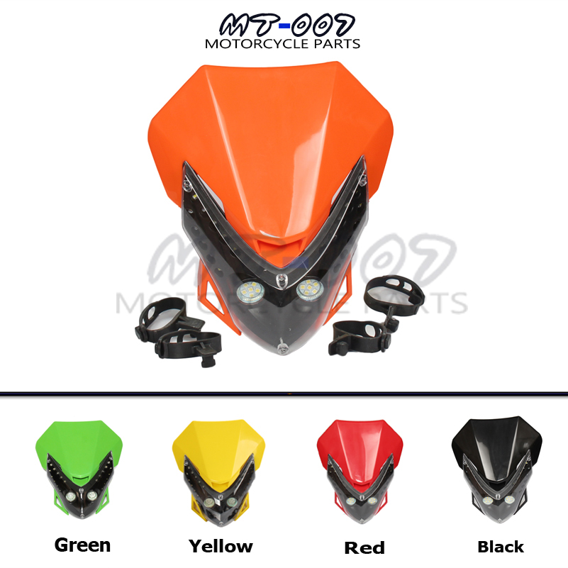Universal motorcycle LED Vision Headlight Street Fighter Bike Fairing dirt bike Headlamp for DRZ DRZ250 DRZ400 RMX RM125-in Covers & Ornamental Mouldings from Automobiles & Motorcycles    1