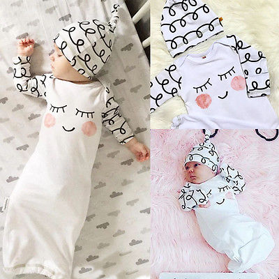 Newborn Baby Sleepy Eyes Rosy Cheeks Pajamas Bedgown and Hat SetNewborn Baby Sleepy Eyes Rosy Cheeks Pajamas Bedgown and Hat Set