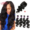 Brazillian Body Wave With Closure Top 8A Grade Rosa Hair Products 3/4 Bundle s Wet And Wavy Human Hair Meches Bresilienne Lots