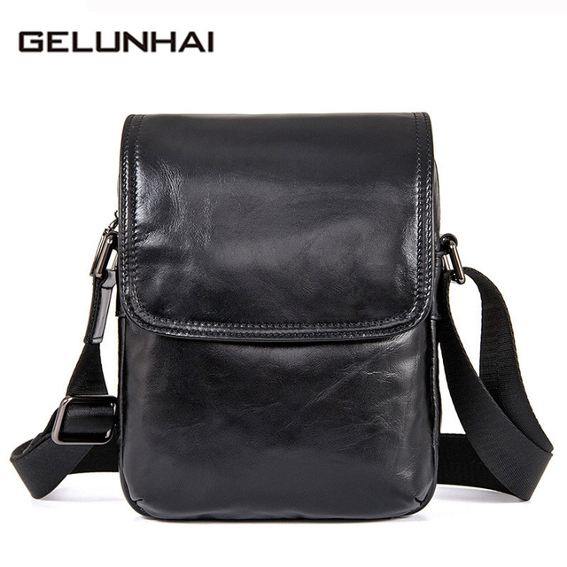 882e1ed2f5 Gelunhai Cowhide Genuine Leather Men Bag Small Ipad Flap Crossbody Bags  Black Mini Shoulder Bags Casual Messenger Bag Men Leathe