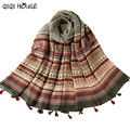 Bohemian Scarf Women Lady Tassels Shawl Voile Rectangle Printing Warm Shawl Beach Cover Up Poncho Feminino Inverno#D829