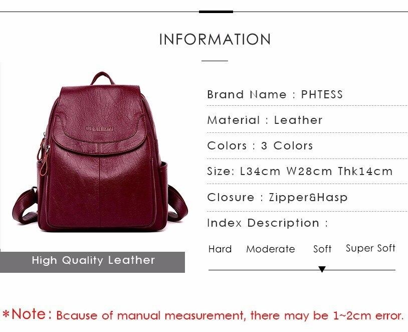 HTB1NiMLadfvK1RjSspfq6zzXFXaj 2019 Female Leather Backpacks High Quality Sac A Dos Ladies Bagpack Luxury Designer Large Capacity Casual Daypack Girl Mochilas