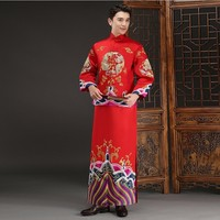 2018 New Chinese Dragon Costume Traditional Groom Traditions Gold Brocade Gown Embroidery Wedding Cheongsam Men Vestido Oriental