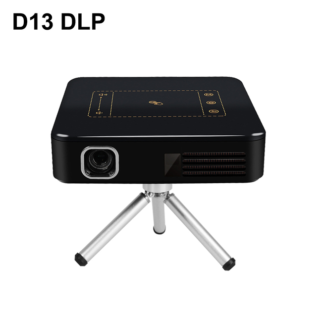 Best Offers D13 Android 7.1 Portable Mini DLP Projector with Smart TouchPad WIFI Bluetooth 150ANSI Lumen 4K Proyector LED Beamer Home Cinema