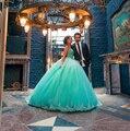Querida vestido de Baile Verde da Hortelã Vestidos Quinceanera Com Lace Vestido De Quinceanera 2016 Vestido Para 15 Anos Debutantes Parágrafos