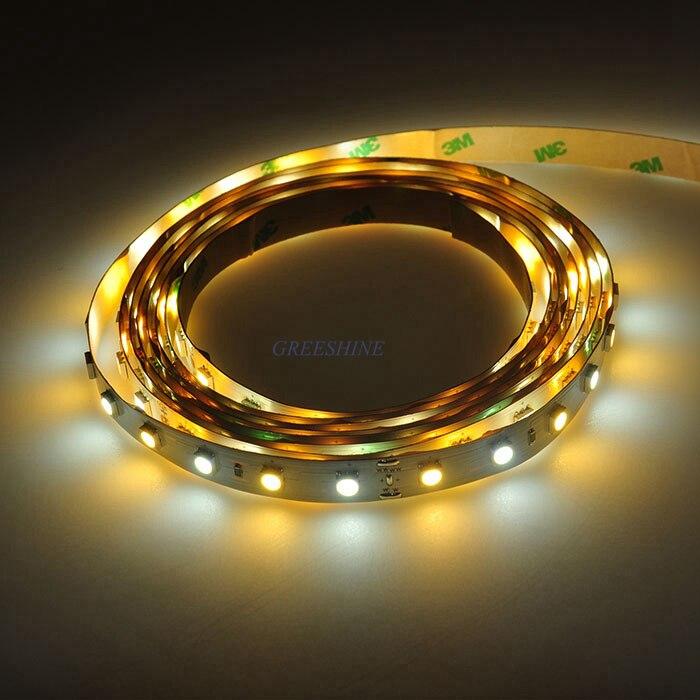 14.4 Вт/м двойной Цвет Светодиодные ленты 5050 <font><b>WW</b></font> + CW цветовая температура регулируется DC24V 60LED/M CCT светодиодные полосы DHL Бесплатная доставка