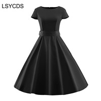 2017 Elegant Black Dresses O Neck Short Sleeve Robe Gown Big Swing Retro Casual Party Rockabilly
