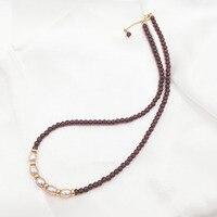 LiiJi Einzigartige Halsband Halskette Natürliche Rote Granat Süßwasser Perle 925 Sterling Silber