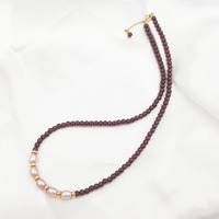 LiiJi Unique Choker Necklace Natural Red Garnet Freshwater Pearl 925 Sterling Silver Drop shipping