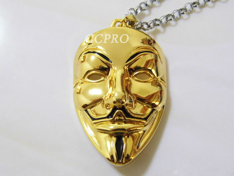Big Sizelong Chain Metal Pendantnecklace Of V For Vendetta Mask