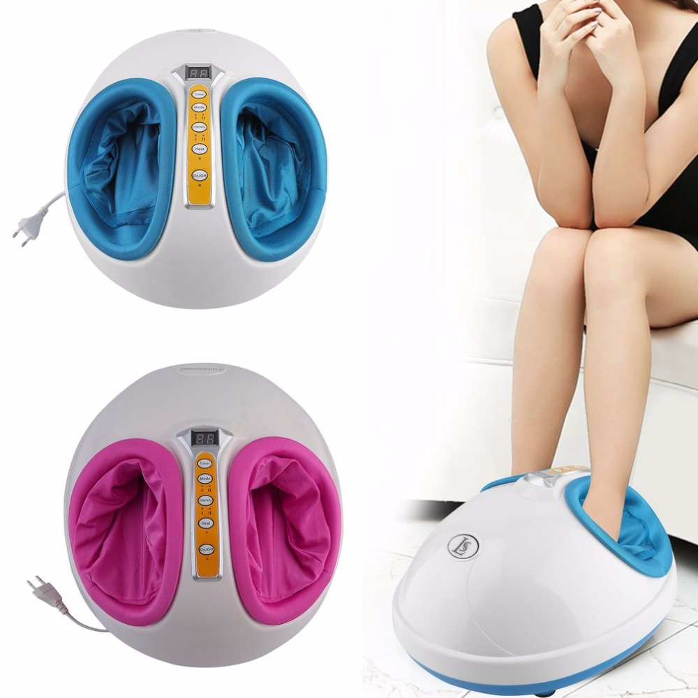 220V Electric Antistress Heating Therapy Shiatsu Kneading Foot Massager Vibrator Foot Care Device Foot Massage Machine New electric shiatsu foot massager far infrared heating kneading reflexology massage device home relaxation back massager
