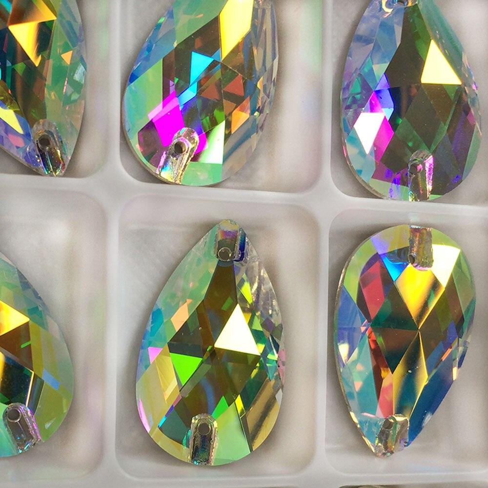YANRUO 3230 Drop Kristall AB Strass Nähen Teardrop Kristalle Glas Steine Nähen auf Strass Flatback DIY Hand