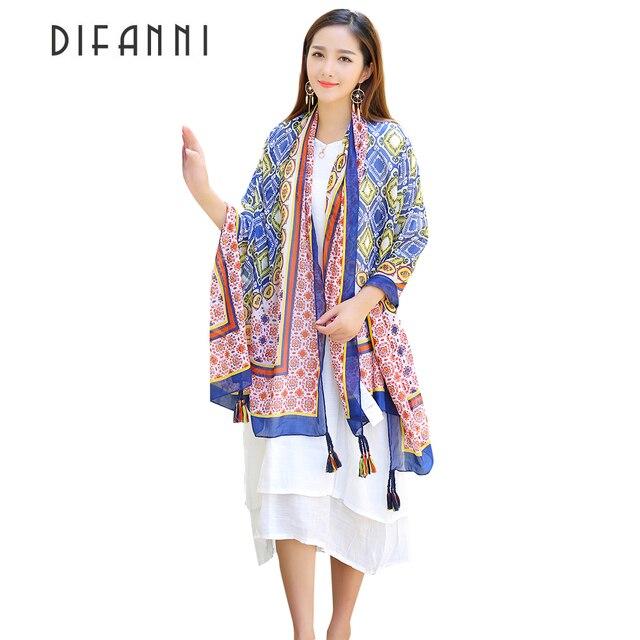 [DIFANNI] algodón Bohemia Tailandia estilo Pashmina con borlas chal capa Mujer bufanda India viaje protector solar bufanda