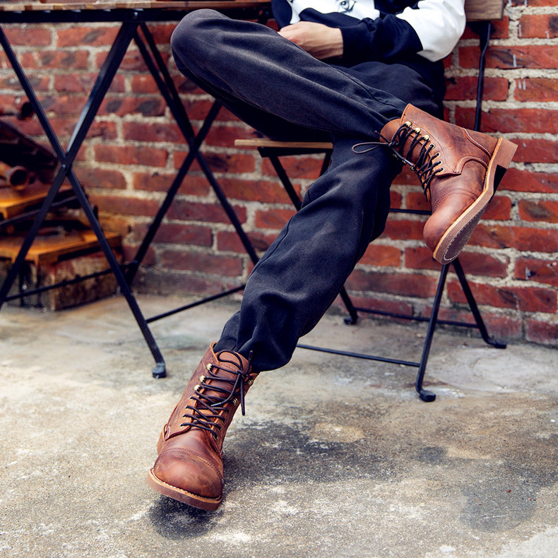f1f2d887194 New Fashion Men Boots Motorcycle Handmade Wing Genuine Leather ...