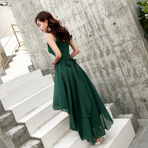 Image 3 - 2019 New Green Chiffon High Low Beach Evening Dresses Sexy Halter Sleeveless Short Front Long Back Prom Dresses 2019 Plus Size