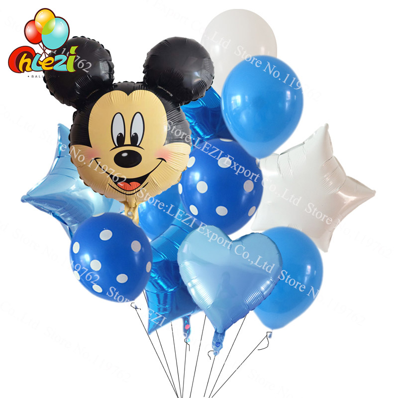 11pcs Lot Minnie Mickey Mouse Head Baby 1 2 3 Year Birthday Decoration Party Supplies Dot Latex Balloon Star Heart Foil Balloons In Ballons Accessories