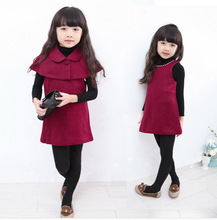 2015 Noble New Fashion Baby Girls Woolen Dress Set Winter Outwear Clothes Set 2pcs Cape with Dress For Girls Clothing Red Retail