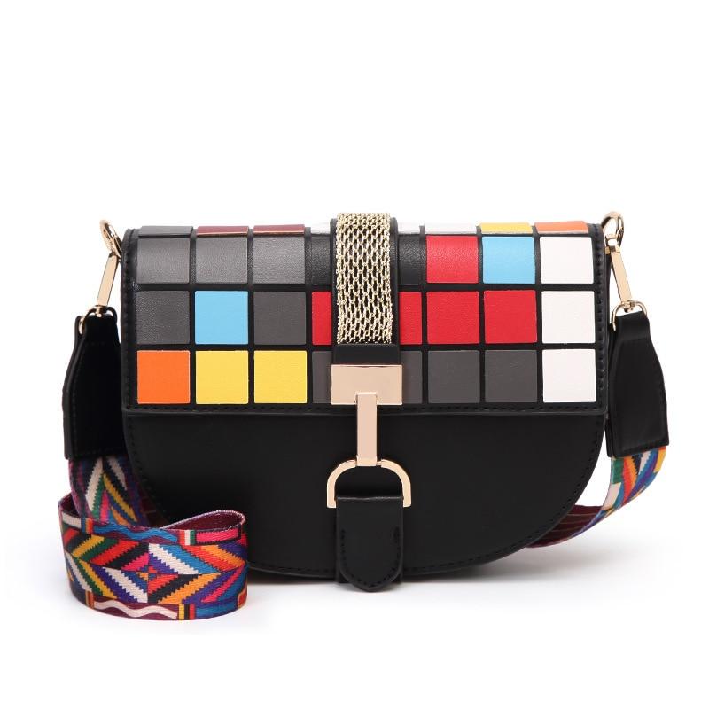 2018 Spring And Summer New Mosaic Box Multicolor Mosaic Saddle Bag Shoulder Diagonal Handbag мозаичный декор atlas concorde marvel pro cremo mix diagonal mosaic 30 5x30 5