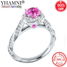 90% OFF! Original 925 Silver Wedding Rings For Women Charm Queen Princess Rings Round Pink Stone Bridal Engagement Jewelry AR665(China)