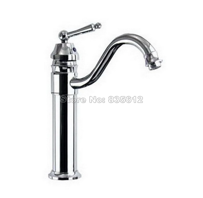Modern Chrome Brass Kitchen Deck Mounted Sink Basin Faucet Swivel Spout / Single Handle Mixer Taps Wnf207 kanen wireless headphone bluetooth stereo headsets earbud with mic handsfree earphone for iphone samsung pc for girl headphone