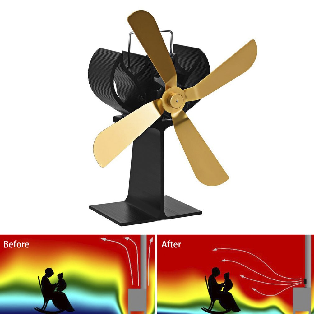 4 Blades Heat Power Wood Stove Eco friendly Fan