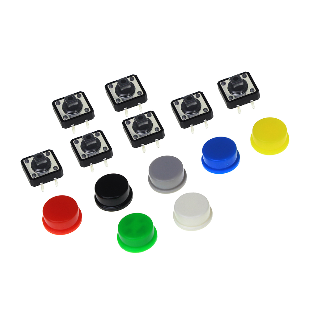 Smart Electronics 10Pcs Tactile Push Button Switch Momentary 12*12*7.3MM Micro Switch Button+10PCS 5 Colors Tact Cap 6x6xl 5 6 7 8 9 10 11 12 13 14 15 16 17 18mm 4pin tactile tact push button micro switch direct plug in self reset dip