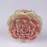 High End Fashion Flower Studded Crystal Rhinestone Evening Clutch Bag Luxurious European Clutch Bag Party Purse