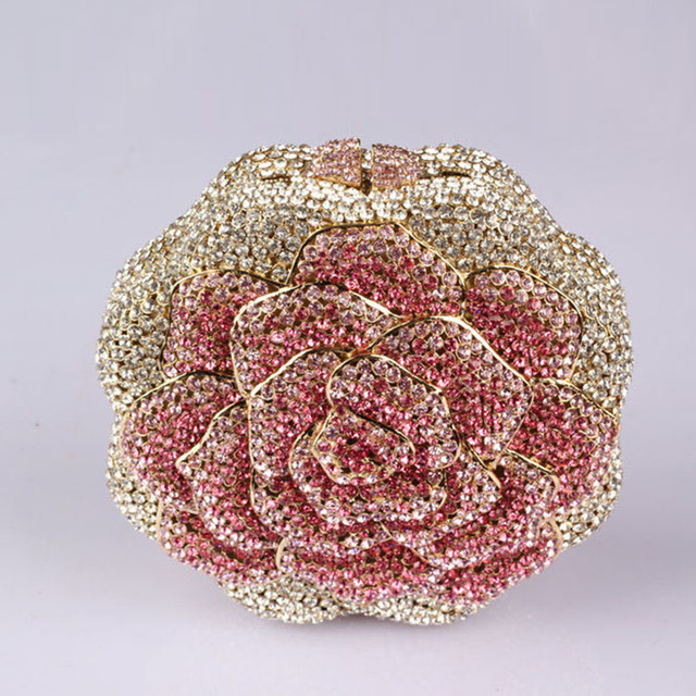 Cute Flower Rose Handmade Handbags For Women Red And Gold Clutch Online Dinner Party