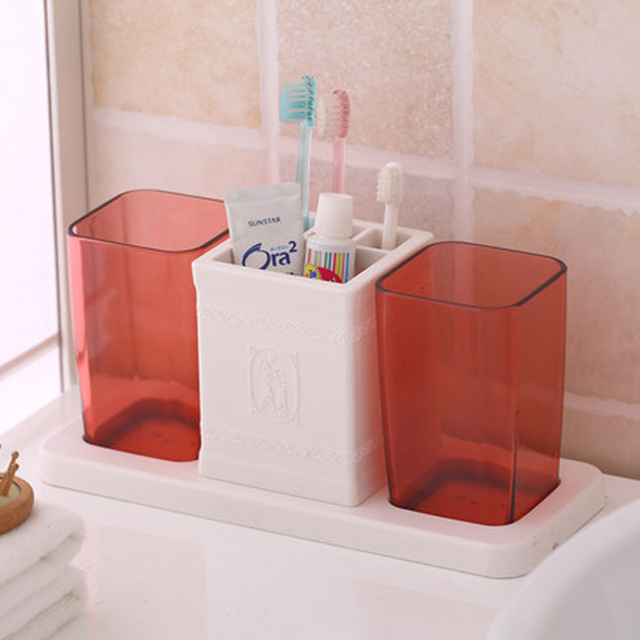 Plastic Tumbler Toothpaste Toothbrush Holder Bathroom Accessories