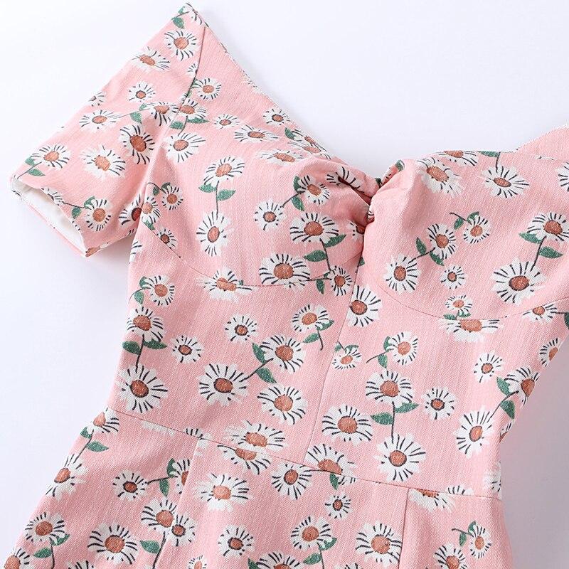 Avec Sexy Le Rise Robe 2017 Vintage Palais Rose cou Élastique D'été Plastron V Hors Tissu High Doux Crayon Épaule qHaFH