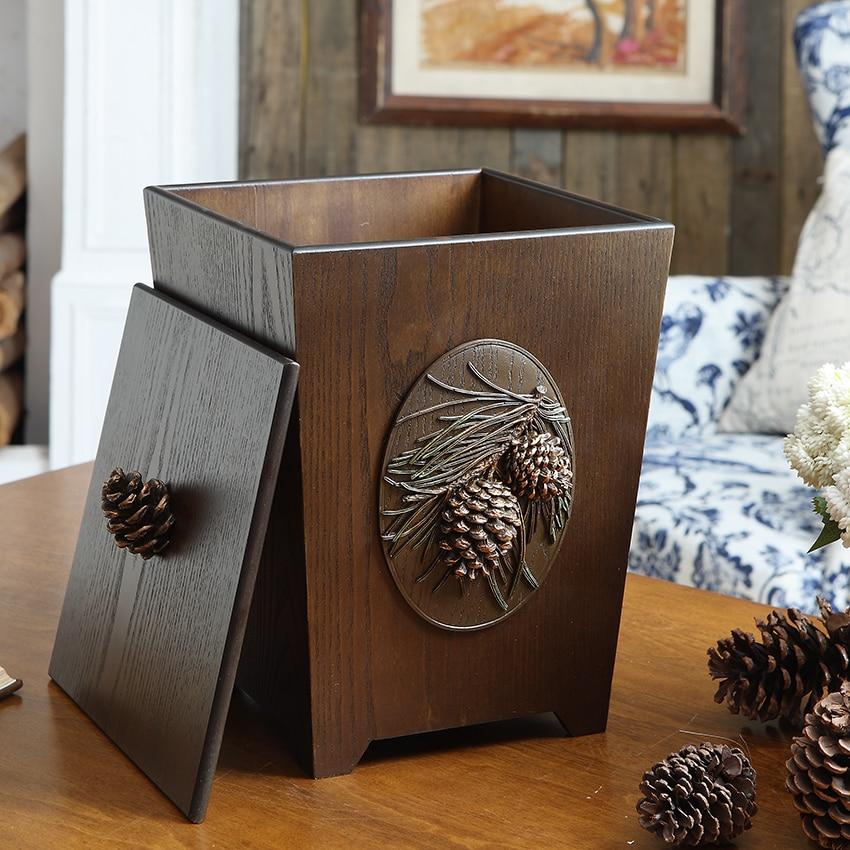retro originality Wood grain Wood carving Garbage can Waste Bin Home Garden household Living room bedroom office Storage bucket