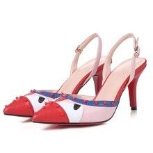цены на 2019 summer fashion women's sandals real leather fabric comfortable inside pointed toe shoes high heel sandals women  в интернет-магазинах